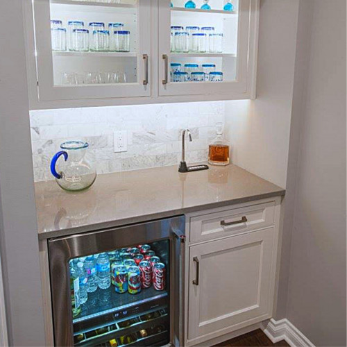 Home bar install with Beverage Center SIDEBAR 6880